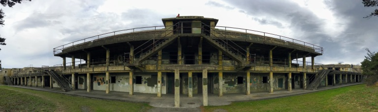 Panorama of the front of Fort Worden.