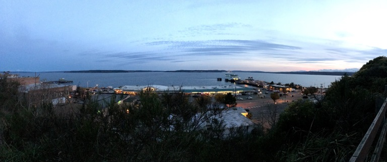 Panorama of Port Townsend, the water, and the sunset.